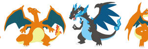 Charmander, Charmeleon, Charizard and Megas Base by SelenaEde