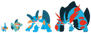 Mudkip, Marshtomp, Swampert and Mega Base by SelenaEde