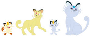 Meowth and Persian Base by SelenaEde