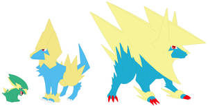 Electrike, Manectric and Mega Manectric Base by SelenaEde