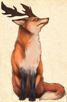 Antlered fox by Bluelioness