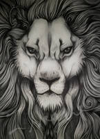 Big ass, overly detailed biro sketch of a Lion. by Bluelioness