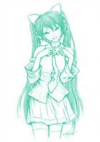 Fan Art : Vocaloid Miku Gwiyomi by n3kozuki
