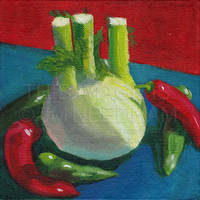 Fennel and Chilli Peppers by JMNeedhamArt