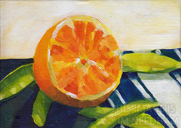 Orange on a Striped Napkin by JMNeedhamArt