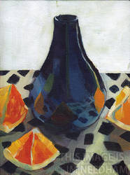 Purple Vase With Oranges by JMNeedhamArt