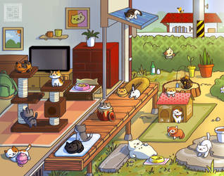 Neko Atsume Playful Days Prints Available by Gryphon-Shifter