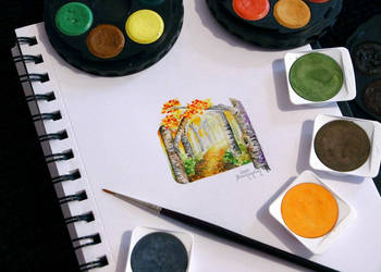 Watercolor - Fall Mini Landscape Painting by barananduen