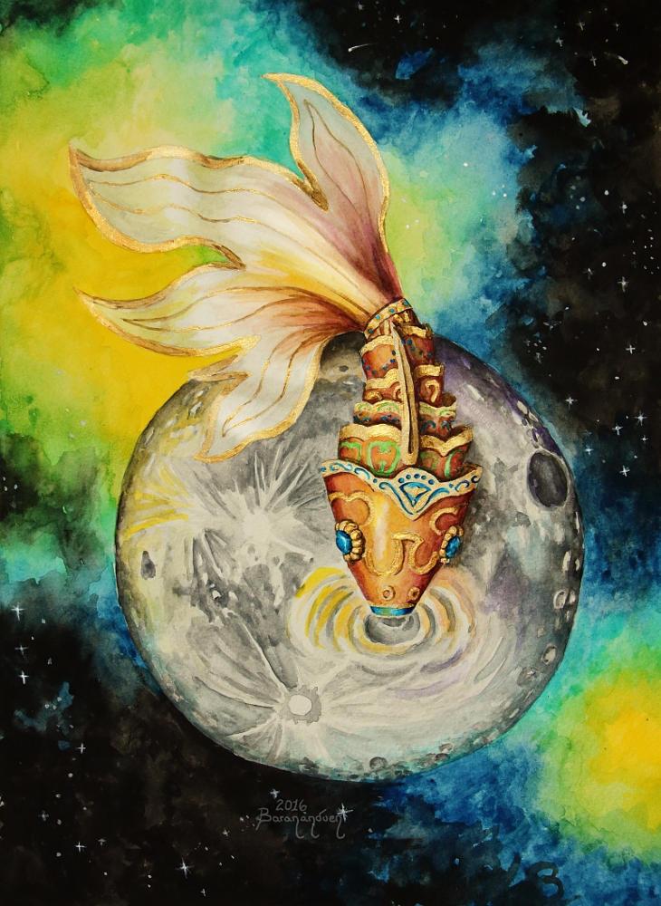 Watercolor - Drink in the Moon by barananduen
