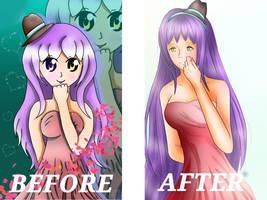 Before/After drawing Mitsuki  by Mitsuki-Yukari