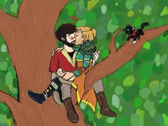 Hawke and Anders sitting in a tree (K-I-S-S-I-N-G) by heartsyhawk
