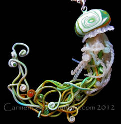 green gold jellyfish necklace by carmendee
