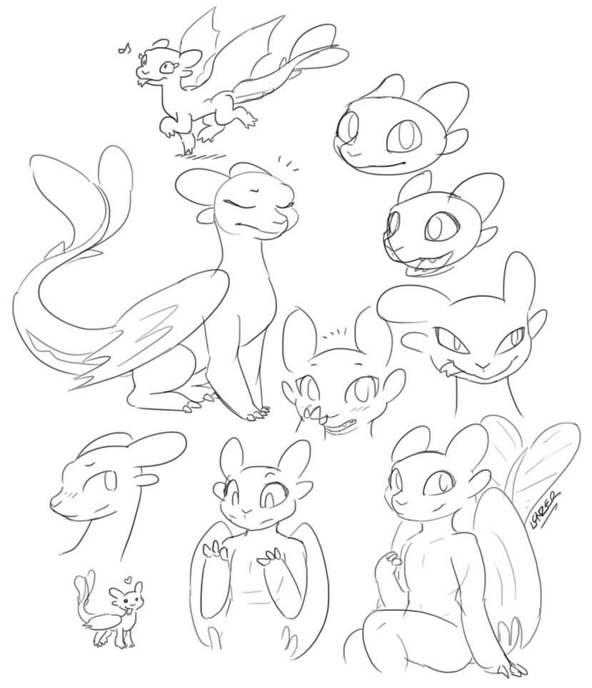 Light Fury Doodles by GreenLinzerd