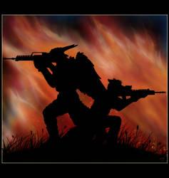 Fighting among firestorm by Mutabi