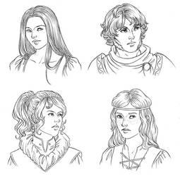 $5 Headshots: Melodie, Euclide, Amalia, Calaan by temiel