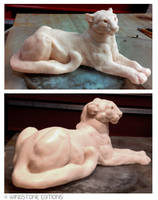 Mountain Lion Scupt Clay side views by Reptangle