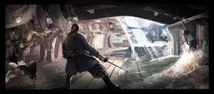 Pirate battle under deck of a sinking ship by Undercurrent-32