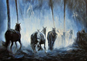 A mustang herd in the woods by MustangMCz