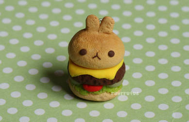 Bunny Burger Clay Charm by xoxRufus