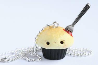 Bleeding Cupcake Halloween Necklace by xoxRufus