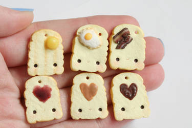 Toast Polymer Clay Charms by xoxRufus