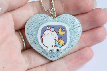 Blue Molang Bunny Resin Necklace by xoxRufus