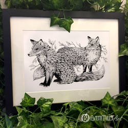 Leaf Foxes - Animal and Bird Ink Collection by BMiley