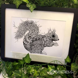 Leaf Squirrel - Animal and Bird Ink Collection by BMiley