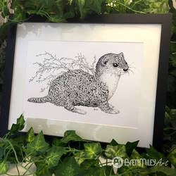 Leaf Weasel - Animal and Leaf Ink Collection by BMiley