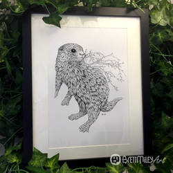 Leaf Otter - Animal and Bird Ink Collection by BMiley