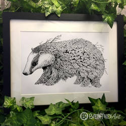 Leaf Badger - Animal and Bird Ink Collection by BMiley