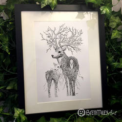 Leaf Stag and Deer by BMiley