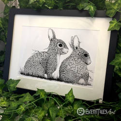 Leaf Rabbits - Animal and Bird Ink Collection by BMiley