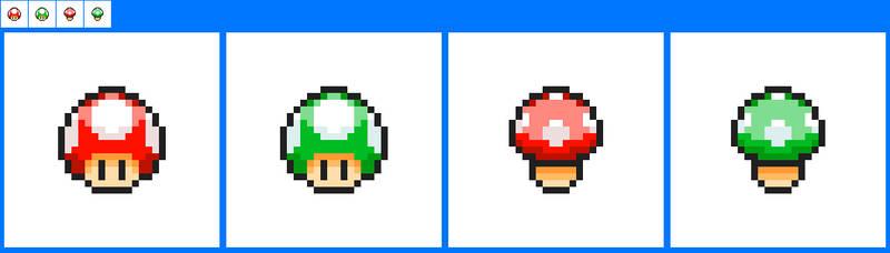 Mario Mushrooms in Pokemon Sprite Icon style by ericgl1996