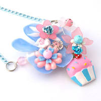 cupcake collaged necklace by AndyGlamasaurus
