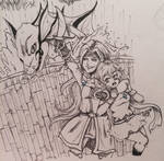 Inktober-19 Faris and Lenna (Oh and Syldra too.) by PinkDerpyUnicornz