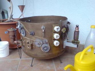 Steampunk garden pot by sinisaart