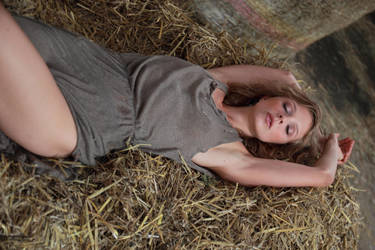 With Anna in the hay  1 by PhotographyThomasKru