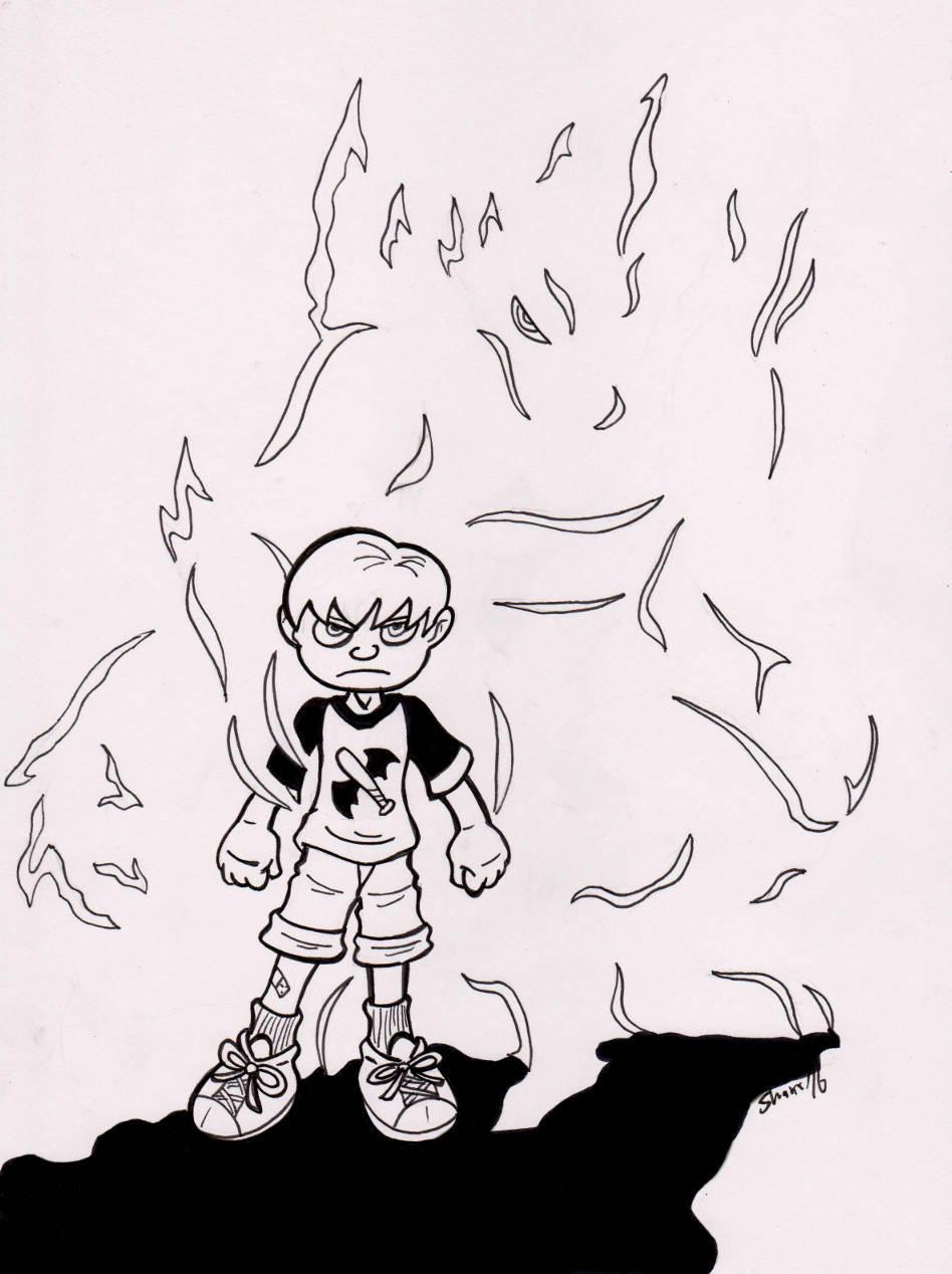 Inktober 2016 - [Crouching Kid,] Hidden [Monster] by Sea-Salt