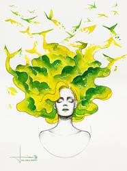 Freedom: Parakeet by kelogsloops