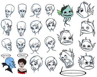 Megamind Sketchdump 2 by PadawanLinea
