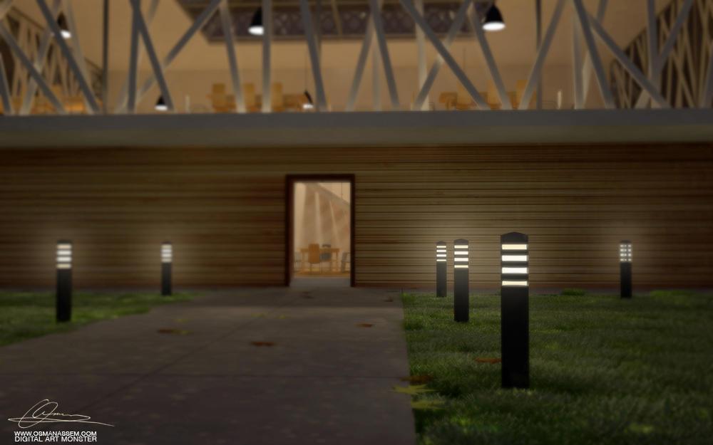 3D Library Close Night Scene by osmanassem