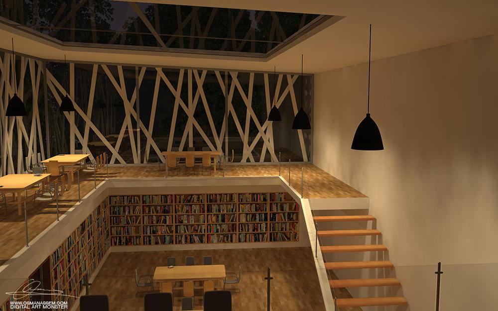 3D  Library Interior Night by osmanassem