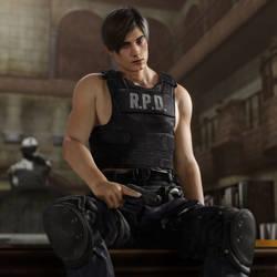 RE2:Remake Leon Pinup by MistFighter