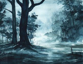Rainy Forest Watercolour by Simkaye