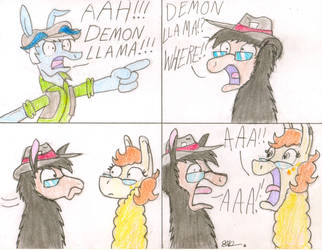 DEMON LLAMA!!! by BrogarArts