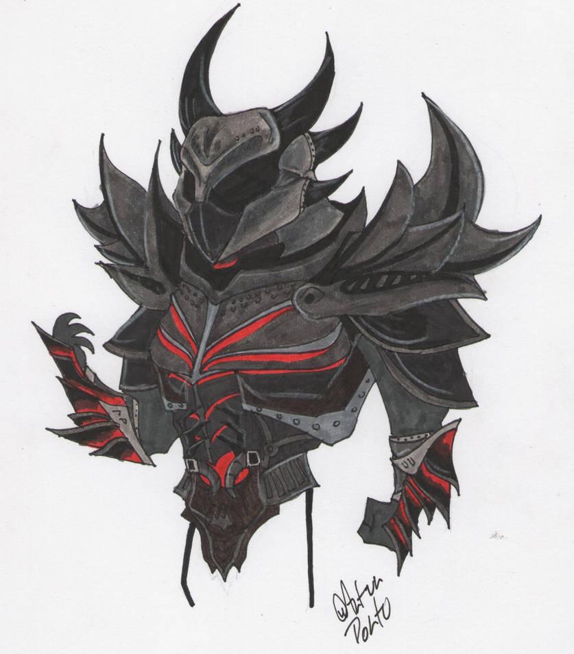 Daedric helmet drawing