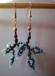 Beaded Leaf Earrings by mayan-art