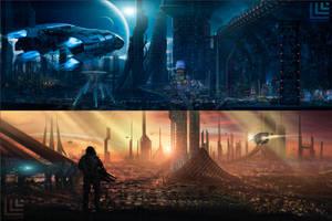 Sci-fi panorams by Lensar