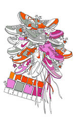 pink and orange by JU5